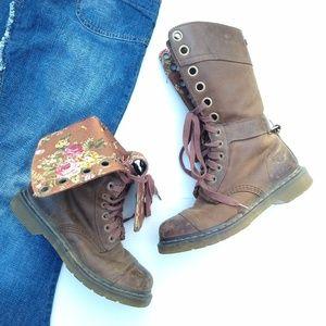 Doc Martens • triumph brown floral lace-up boots